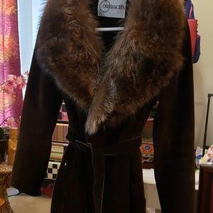 Jackets & Blazers - OHRBACH'S Dark Chocolate Suede Coat w/ fur collar